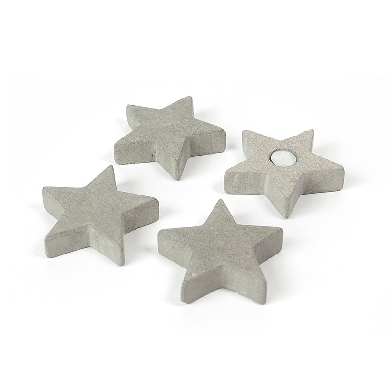 Magnet - stea ciment - CONCRETE STAR (4 buc/set)